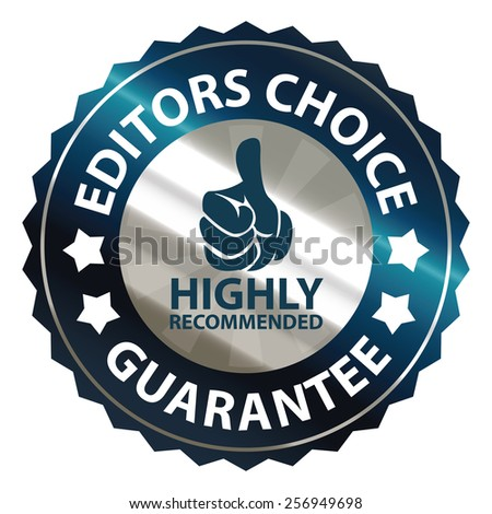 blue metallic editors choice guarantee highly recommended sticker, sign, badge, icon, label isolated on white - stock photo
