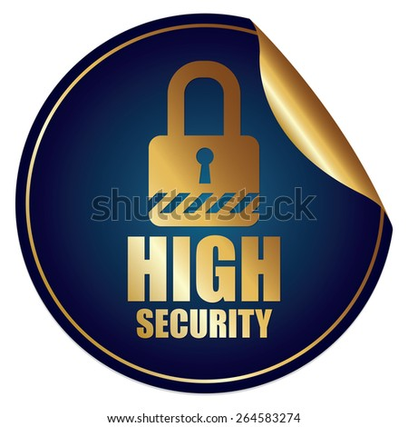 Blue Metallic High Security Sticker, Icon or Label Isolated on White Background  - stock photo