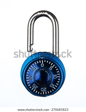 Blue metallic lock isolated on white background