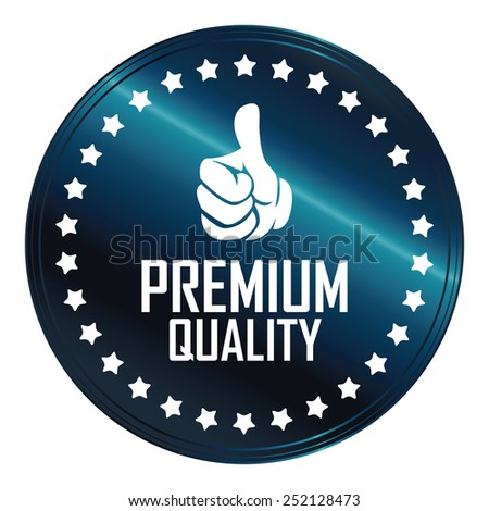 blue metallic premium quality sticker, sign, icon, label isolated on white