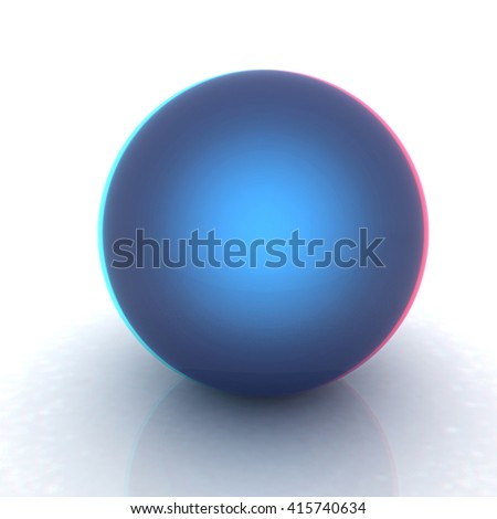Blue metallic sphere. 3D illustration. Anaglyph. View with red/cyan glasses to see in 3D.