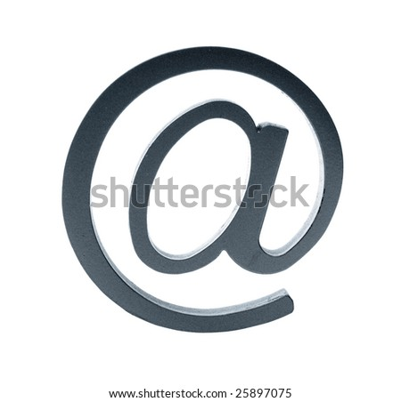 """blue metallic symbol """"at"""" isolated over a white background - stock photo"""