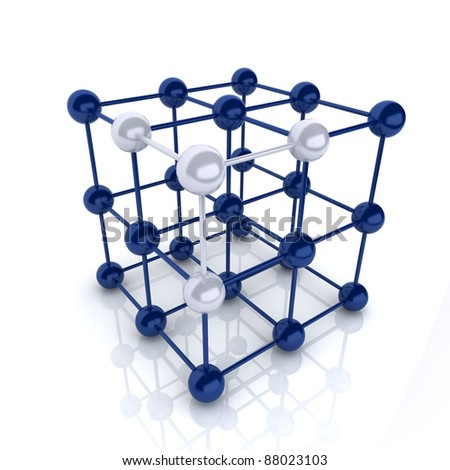 Blue metallic symbol with cube frame molecule (cube frame) - stock photo