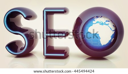 Blue metallic text 'SEO' with earth globe, symbol. 3D illustration. Vintage style. - stock photo