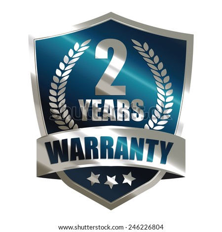 blue metallic 2 years warranty shield sticker, badge, icon, stamp, label, banner, sign  isolated on white  - stock photo