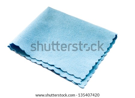 Blue microfiber duster isolated on white. - stock photo