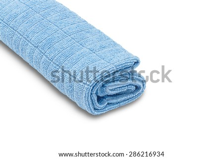 Blue microfiber duster isolated on white background - stock photo