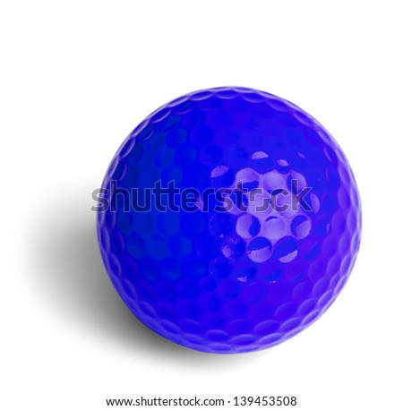 Blue Miniature Golf Ball Isolated On White Background. - stock photo