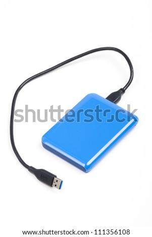 Blue Mobile HD, External hard drive - stock photo