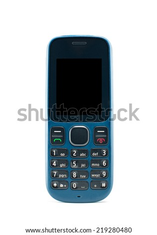 Blue mobile phone on white background