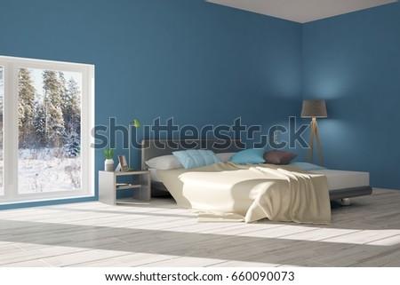 Blue Modern Bedroom Scandinavian Interior Design 3D Illustration