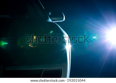 blue modern car closeup - stock photo