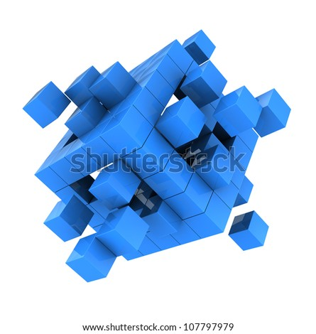 Blue modern cube isolated  on white background