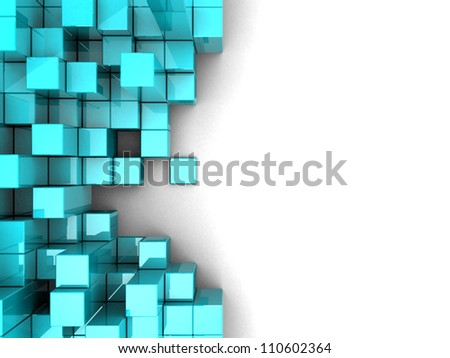 Blue modern cubes over white background - stock photo