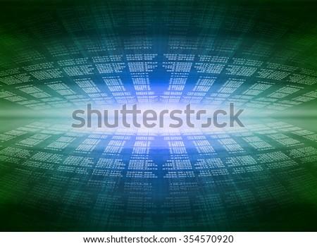 Blue modern display of data source code - stock photo