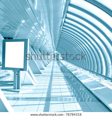 blue modern hall with white placard - stock photo