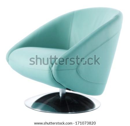blue modern isolated armchair - stock photo