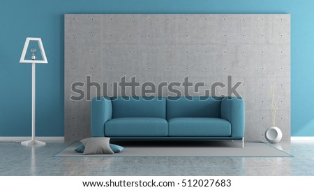 Blue modern living room with concrete panel and sofa on carpet - 3d rendering