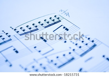 blue modern musical notes background - stock photo