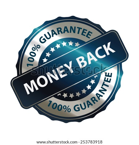 blue money back 100% guarantee sticker, banner, sign, icon, label isolated on white - stock photo