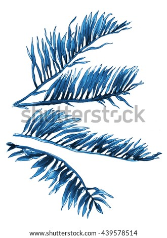Blue monochrome tropical exotic rainforest leaves, palm tree, branch. Hand drawn watercolor set isolated on white background. Botanical illustration. Thailand Bali, Asia, Hawaii. For wedding printings - stock photo