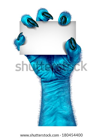 Blue monster hand as a zombie holding a blank sign card as a creepy halloween or scary alien symbol with textured cold skin and hairy wrinkled fingers on a white background. - stock photo
