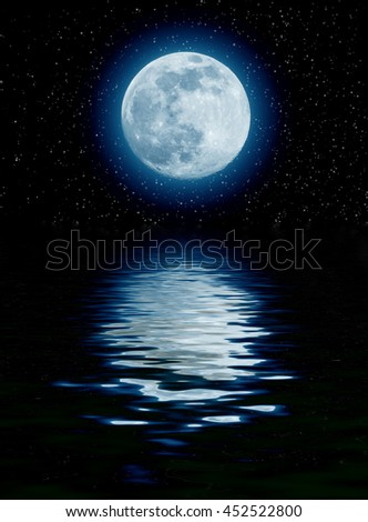 blue moon over the sea with starts - stock photo
