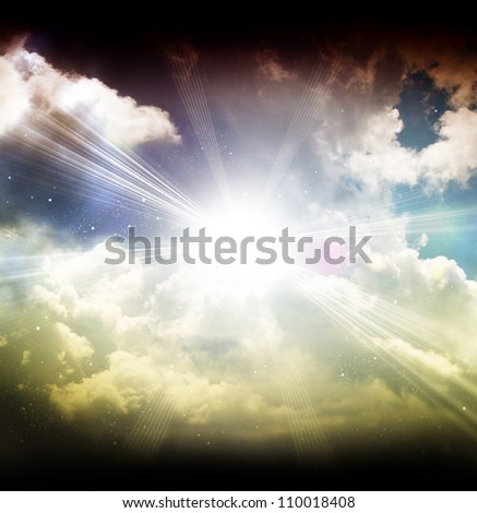 Blue moon with clouds and stars - stock photo