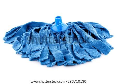 Blue mop isolated on white background. - stock photo