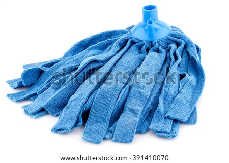 Blue mop isolated on white background.