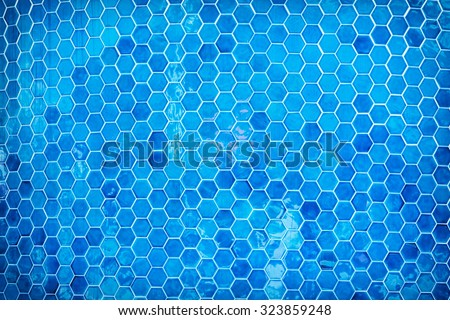 Blue mosaic swimming pool background. Summer vacation. - stock photo