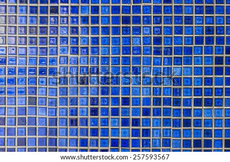 Blue mosaic tile wall as background image