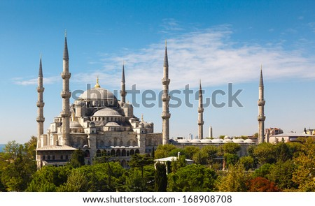 Blue Mosque against the blue sky on clear day, Istanbul, Turkey - stock photo