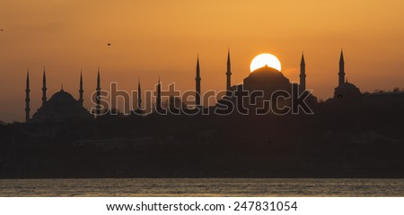 Blue Mosque and Hagia Sophia at sunset