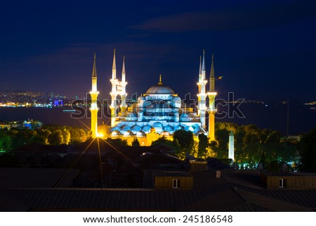 Blue Mosque at sunset in Istanbul, Turkey, Sultanahmet district - stock photo