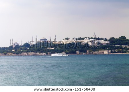 Blue Mosque, Hagia Sophia and Topkapi Palace, Cloudy sky, Istanbul. - stock photo