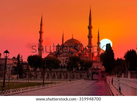 Blue mosque in glorius sunset, Istanbul, - stock photo