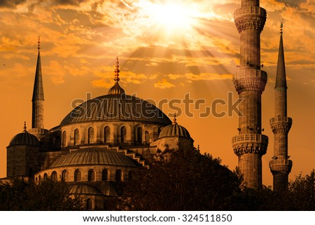 Blue mosque in Istanbul, Sultanahmet park. The biggest mosque in Istanbul of Sultan Ahmed (Ottoman Empire). - stock photo