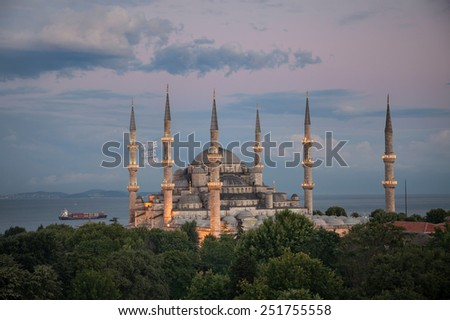 Blue mosque in ramadan (Let no one be lonely) - stock photo