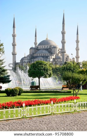 Blue Mosque in Spring - stock photo