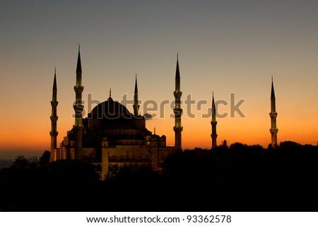 Blue Mosque in sunset scene, Istanbul Turkey - stock photo