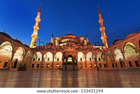 Blue Mosque in the pre-dawn hours - stock photo
