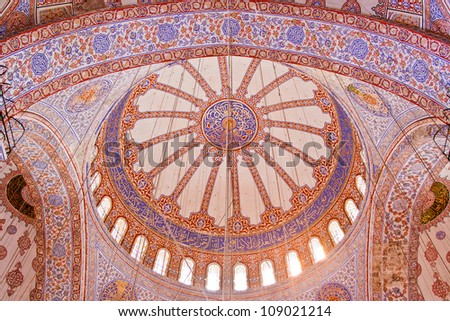 Blue Mosque interior in Istanbul, Turkey - stock photo