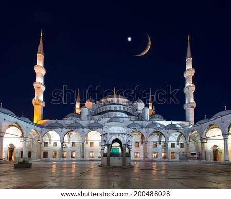 Blue Mosque (Sultanahmet Camii) at dusk, Istanbul, Turkey  - stock photo