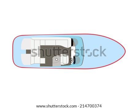 Blue motorboat on isolated background - stock photo