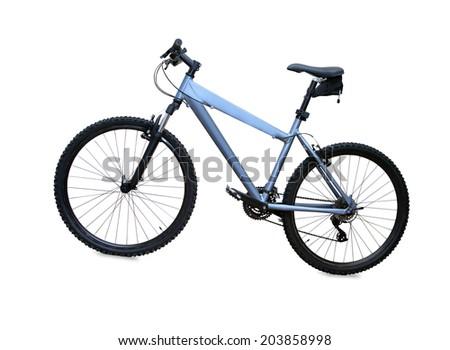 blue mountain bike isolated over white background - stock photo