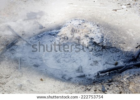 Blue Mud Steam Vent.   Norris Geyser Basin, Yellowstone National Park USA - stock photo