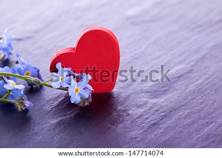 blue myosotis flower with red wooden heart decoration - stock photo