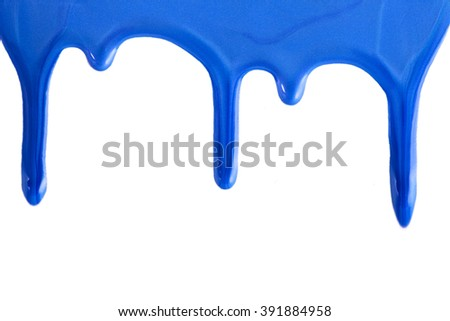 blue nail polish drops. Isolated on a white background. - stock photo