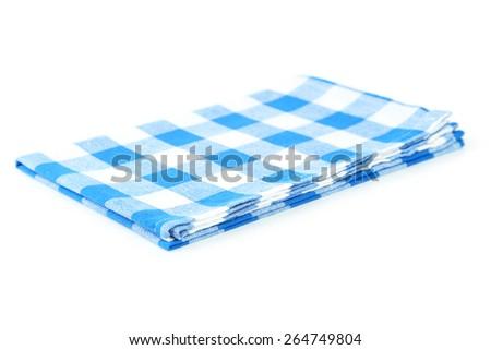 Blue napkin isolated on white - stock photo
